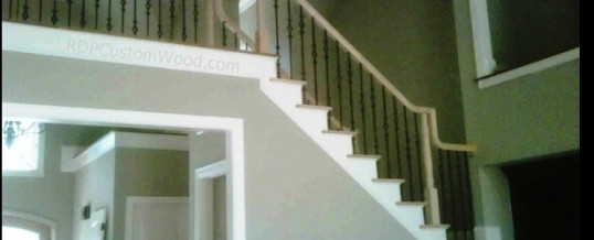 Lft View Custom Stair Rails with Iron Balusters