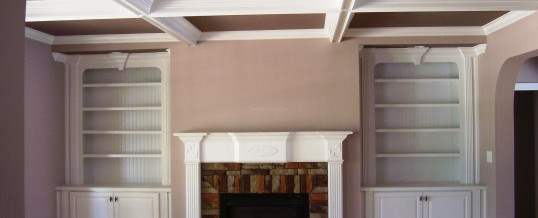 Custom Wood Fireplace Mantle, Built In's and Coffered Ceilings